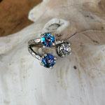 Fingerring Ring Rodwen Antiksilber Messing mit Crystal & Saphir Shimmer 6mm Swarovski Steinen verstellbar