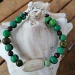 Damen Armkette Perlenarmette Perlenarmband Ethno Boho Awen mit grünen Acai-Samenperlen, runden bronzefarbenen Acrylperlen und ovaler Holzperle