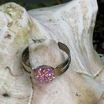 Kinder Mädchen Fingerring verstellbar mit glitzernder Cabochon Harzperle in rose, Innendurchmesser 19mm