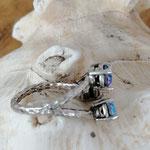Fingerring Ring Rodwen Antiksilber Messing mit Crystal und Saphir Shimmer 6mm Swarovski Steinen verstellbar