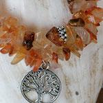 Malakette Mala Armband mit Karneol Edelsteinen und Lebensbaum Anhänger
