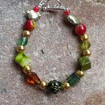 Kinder Armkette Haribo Collection mit goldenen Metallperlen, grünen und roten Acrylperlen