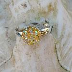 Kinder Mädchen Fingerring verstellbar Cinderella mit glitzernder Cabochon Harzperle in gelb, Innendurchmesser 14mm