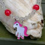 Kinder Mächen Perlen Halskette Awesome mit Einhornanhänger, durchsichtigen facettierten Acrylperlen, rosa Glanzerlen, pinken Acrylperlen und keinen silbernen Blumenrondellen
