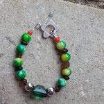 Kinder Armkette Green Smaragd mit hell-dunkelgrünen marmorierten Glasperlen