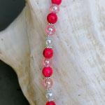 Kinder Mädchen Halskette Perlenkette Pretty Cat mit pinken, rosa und weissen Acrylperlen, silbernen Blumenrondellen, Anhänger Hello Kitty in pinkweiss