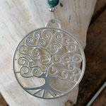 Lange Perlenkette aus Apatit Edelsteinen, Kokosrondellen, silbernen Perlkapphütchen und Lebensbaum Anhänger