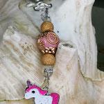 Schlüsselanhänger Einhorn Crazy Candy mit Schmuckperle rosa und goldenen Ornamenten, goldenen Sternenstaub Metallperlen und durchsichtigen Acrylperlen