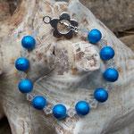 Kinder Mädchen Perlen Armkette Flow of Life mit 6mm blauen, marmorierten Glasperlen und 6mm langen, durchsichtigen facettierten Acrylperlen