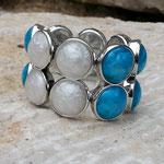 Elast Armband Armkette Perlenarmband Perlenarmkette Kyra mit 2-Loch Acrylperlen in schimmernden violette, türkis & weiss