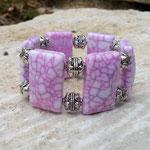 Elast Armband Armkette Perlenarmband Perlenarmkette Valletta mit weiss pinken viereckigen XXL Acrylperlen & Metallperlen