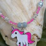 Kinder Mächen Perlen Halskette Puffy Puff mit Einhornanhänger, mit kleinen durchsichtig pinken Glasperlen, grauen facettierten Glasperlen, silbernen Blumenrondellen
