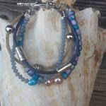 Perlen Armband Mosi mit türkis-silber Kokosrondellen, graue facettierte Jadeperlen, türkis Zuchtperle, Lederband schwarz & hellbraun mit verschiedenen Metallperlen