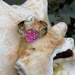 Kinder Mädchen Fingerring verstellbar Pink mit glitzernder Cabochon Harzperle in pink, Innendurchmesser 19mm