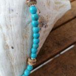 Damen Halskette Perlenkette Perlenkette Farah mit runden Türkisperlen, Kokosrondellen, kleinen Acryl Blumenrondellen sowie silberner Metall Sternenstaubperle