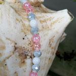 Kinder Mächen Perlen Halskette Honeymoon mit Einhornanhänger, weissen und rosa Acrylperlen, grauen facettierten Glasperlen sowie silbernen Blumenrondellen