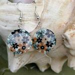 Perlen Ohrringe Ohrhänger Verona mit flachen Perlmuttperlen mit Blumenmuster schwarz, bronze, hellbraun, nickelfrei