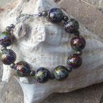 Damen Perlen Armkette Shining Wonderland mit 16mm grossen Spacer Acryl Perlen violett-grün-gold glänzend & bronzefarbenen Acrylperlen