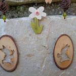 Oster Schwemmholz Treibholz Girlande Schwemmholzgirlande Oster Deko Easter bunny meets Flower mit Tannenholzanhänger Osterhase, Blumenanhänger aus Holz