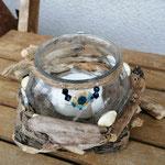 Windlicht Teelicht Teelichthalter Schwemmholz Deko mit Sisalschnur, Perlen, Schwemmholz und Muscheln