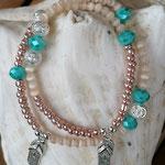 Mala Armband Armkette Perlenarmband elastisches Armband zweisträngig Modeschmuck Perlenschmuck mit lachsfarbenen & türkis Acrylperlen, cremefarbenen Katzenaugen Glasperlen, Flip Flop Anhänger