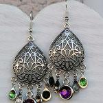Kronleuchter Ohrringe Antiksilber mit violetten, hell- und dunkelgrünen, hellgelben und kristall Geburtsstein Anhängern