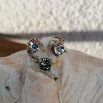 Fingerring Ring Yasmine Antiksilber Messing mit Black Diamond und Crystal Swarovski Steinen verstellbar