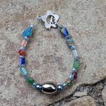 Kinder Armkette Puzzle Beads mit grünen und blauen Acrylperlen