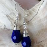 Ohrringe Ohrhänger mit tropfenförmigen dunkelblauen Acrylperlen umwickelt mit Silberdraht, nickelfrei