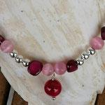 Kinder Mädchen Perlenschmuck Kinder Halskette Daisy mit rosa Katzenaugen Glasperlen, Perlmuttperlen in pink rosa und altrosa, silbernen Acrylperlen, Achatperle Anhänger