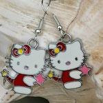 Kinder Mädchen Ohrringe Hello Cat mit Katzenanhänger im Kittie Look, nickelfrei