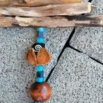 Schwemmholz Treibholz Girlande Windspiel Türhänger Fensterdeko Blue City mit blauen Acryl- & Glasperlen, dunkelbraunen Holzperlen, Lampworkperlen & rundem Hippie Anhänger