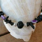 Kinder Mädchen Halskette Perlenhalskette Perlenkette Luana mit schwarzen Lavasteinsplitter Perlen, div. Perlmuttperlen in pink, violett, blau, türkis & Drahtsilberperlen und schwarzer Glitzerperle