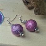 Perlen Ohrringe Ohrhänger Barbarella mit 15mm grossen altrosa Glanz-Acrylperlen und Metallrondellen