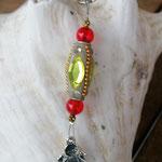 Schutzengel Engel Schlüsselanhänger mit Kashmiriperle mit zitronengelben Strassstein und roten Acrylperlen