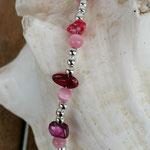 Kinder Mädchen Perlenschmuck Kinder Halskette Daisy mit rosa Katzenaugen Glasperlen, Perlmuttperlen in pink rosa und altrosa, silbernen Acrylperlen, Achatperle Anhänger pink rosa