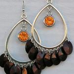 Kronleuchter Ohrringe Antiksilber mit orangen Geburtsstein Anhänger und dunkelbraunen Acrylperlen Blättchen