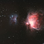 M42 Orionnebel, APM 107/700 mit Big Riccardi Reducer (F:4,9),Idas LPS-P2 Filter,Canon 1000DA,Avalon Linear Montierung.Aufnahme:Objekt in Westen bei hoher Luftfeuchte