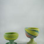 pastel green yellow H8xDia 9cm  pink yellow cobre H10xDia 10cm, potter´s wheel pdv