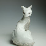 casted foamed glass, silver leafed, H23xW27XD15cm