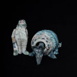 babuschka with armadillo , 3d printed glass paste in collaboration, armadillo W15cm with movable head