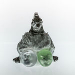 hen, casted foamed glass, casted aluminium, eggs sculpted core in casted glass, life size