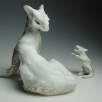 mouse foamed glass casted, silver leafed, life size