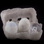 iced pdv, hollow eggs pdv and sculpted core in casted egg, life size