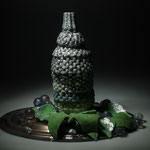stilllife with 3dprinted pdv pineapple in collaboration G. Silpituca, leaves directly modelled pdv, grapes casted, tablet metal H35xW27xD24cm