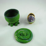 potter´s wheel pdv, stand 3d printed glass paste by G.Silpituca, 12x12cm , faut berge egg, life size, murini pdv gold leafed