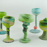 tallest goblet H17xDia7cm tilted goblet H15xDia 7cm,faded foot roemer, H12xDia 8cm with lid potter s wheel pdv