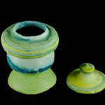 pH17xDia11cm pate de verre thrown on the potter s wheel