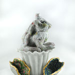 march hare from wonderland, casted foamed up glass and traditional pdv,H28xW19xD15cm without shells