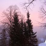Start bei Sonnenaufgang am Parkplatz Brunnental